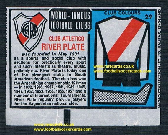 1970 Anglo Gum waxy paper insert World Famous Football Clubs River Plate CARP